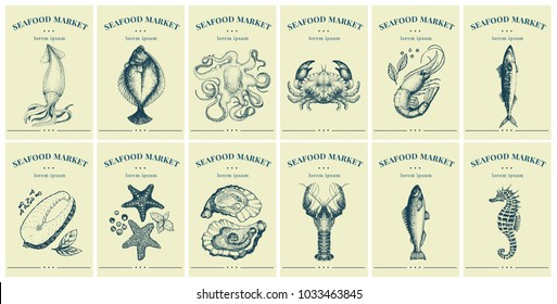 Labels with seafood and fishes. Set templates price tags for shops and markets of organic food. Vector illustration art. Retro. Hand drawn nature objects.