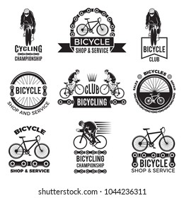 Labels set for bicycle club. Velo speed and mountain biker sport logos designs