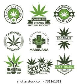 Labels set with different pictures of marijuana plants. Medical herbs, cannabis leaf. Marijuana narcotic badge medicinal illustration