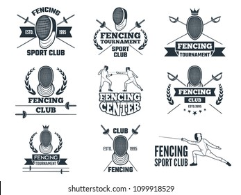 Labels set for fencing sport. Monochrome pictures of rapiers, sword mask and other equipment. Sword and fencer in helmet, swordsmanship and swordplay. Vector illustration