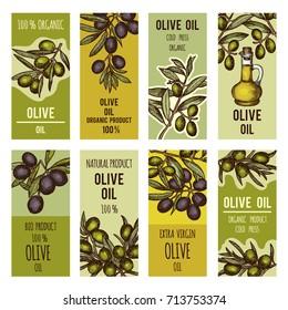 Labels set for olive oil bottles. Vector design template for premium products olive oil, organic and natural illustration
