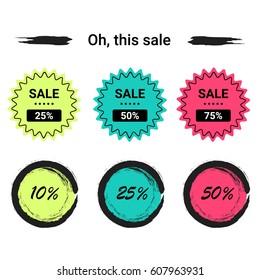 Labels set sale, mega discounts, black Friday, 10%, 25%, 50%, 70%, 80%, 90%. EPS 10