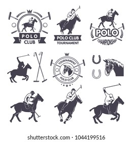 Labels set of sport competition for polo game. Polo club competition, vintage equestrian logo. Vector illustration
