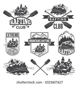 Labels for sport club of extreme dangerous water sport. Vector pictures of rafting, canoe in river extreme logo set
