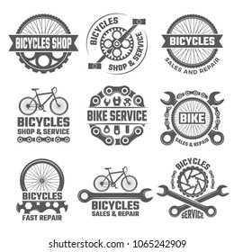 Labels and sport logos set with parts of bicycle. Vector sport bicycle, logo and badge repair bike illustration
