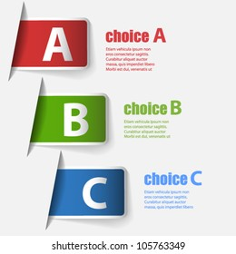 Labels with three choices: A, B and C