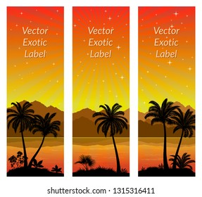 Labels with Tropical Landscape, Palms Trees and Exotic Plants Black Silhouettes on Background with Morning Sea, Mountains and Sky with Stars and Sunrays. Vector