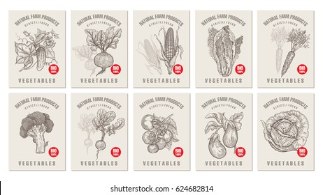 Labels with various vegetables and inscriptions. Set templates price tags for shops and markets of organic vegetarian food. Vector illustration art. Vintage. Hand drawing of nature objects.