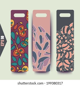 Labels vector with background.Strips background. Vector Design banners.Hand drawn illustration and place for your text.Tag can be used for clothing, cosmetics and foods.