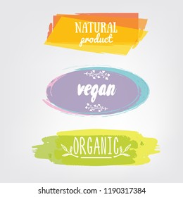Labels with vegetarian and raw food diet designs. Organic food tags and elements set for meal and drink,cafe, restaurants and organic products packaging.Vector illustrated bio detox logo
