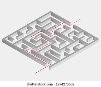 Labirinth maze isometric 3d illustration