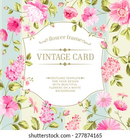Lable card with template text and flower pattern on background. Vector illustration.