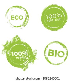 Lables for natural products. Eco design element vector set