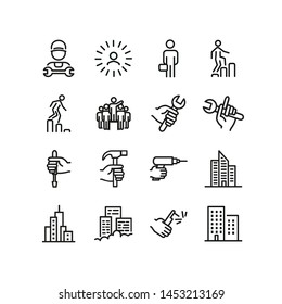 Labor career line icon set. Technician, mechanic, tool, wrench, drill, hammer. Mechanical work concept. Can be used for topics like occupation, blue collar, worker, repair