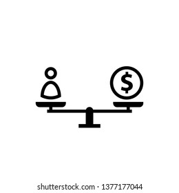 Labor cost concept silhouette icon. Clipart image isolated on white background