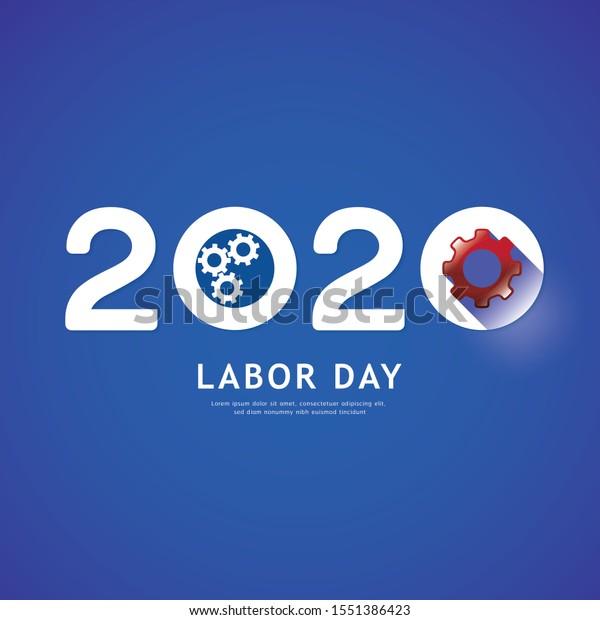 Labor Day 2020 Gear Concept Vector Stock Vector Royalty Free 1551386423