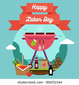 Labor Day background with a beautiful text on the banner