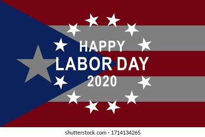 Labor Day  banner with holiday greetings Happy Labor Day.  Puerto Rico flag background