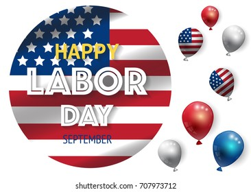 Labor day banner template decor with American flag balloons design.American labor day wallpaper.Vector illustration
