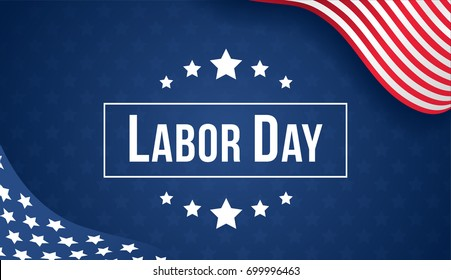 Labor day banner vector illustration, USA flag waving on blue star pattern background with copy space.