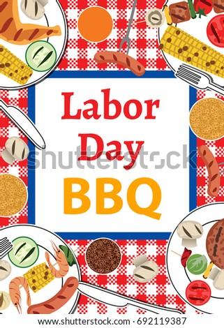labor day bbq invitation barbecue party のベクター画像素材