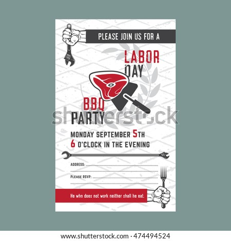 Labor Day Bbq Party Background Vector Stock Vector Royalty Free
