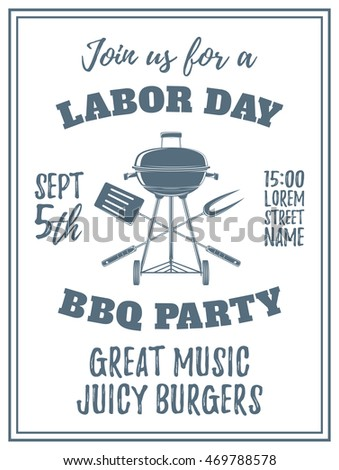 labor day bbq party poster template stock vector royalty free