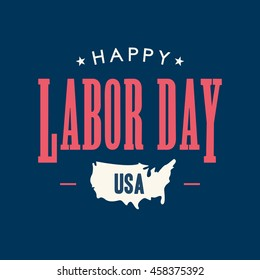 Labor day card. United States of America map. Editable vector design.