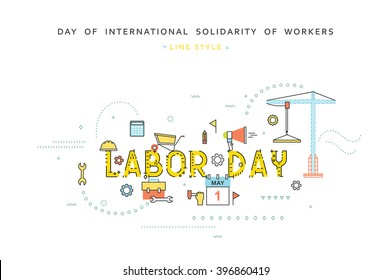 Labor day design  business concept in line flat style. International solidarity of workers. 1st May.