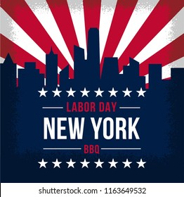 Labor day flayer design, Vintage poster holiday . New York city skyline.