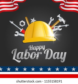 Labor Day greeting card with the American flag. EPS 10