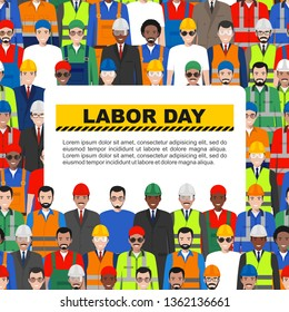 Labor day. Group of worker, builder and engineer standing together on white background in flat style. Working team and teamwork concept. Vector seamless pattern. Different nationalities and uniforms.