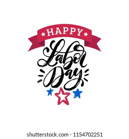 Labor Day, hand lettering with ribbon on stars background. Vector illustration of USA holiday for greeting or invitation card, festive poster or banner.