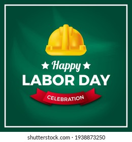 Labor day international worker's day democracy culture with safety yellow helmet with green board background.