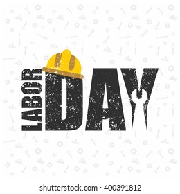 Labor Day logo Poster, banner, brochure or flyer design with stylish text 1st May Happy Labor Day on white pattern background with yellow and Black typography creative artwork