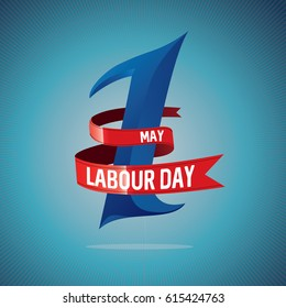 Labor Day, logo Poster, banner, brochure or flyer design with stylish text 1st May Happy Labor Day