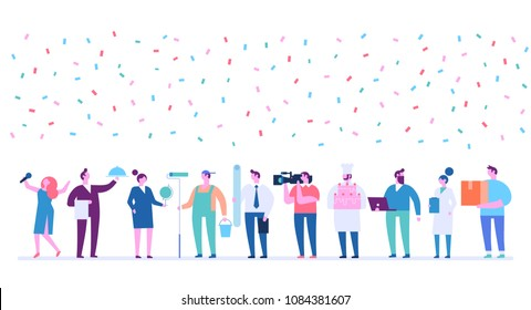 Labor Day. Poster with people of different occupations . Flat vector ilustration.