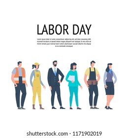 Labor Day Poster With People Of Different Occupations. People Group Different Job. Vector