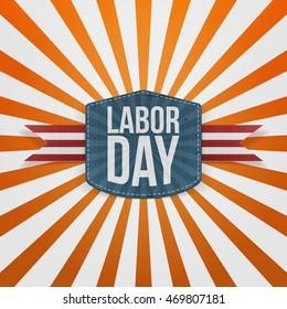 Labor Day realistic paper Badge