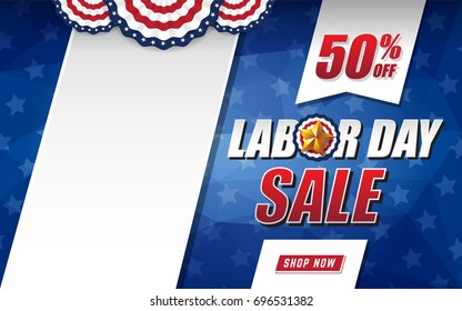 Labor day sale background design with USA flag and black space. Vector illustration