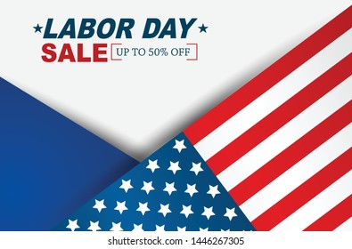 Labor Day sale background with USA national flag. Holiday design concept. Vector illustration.