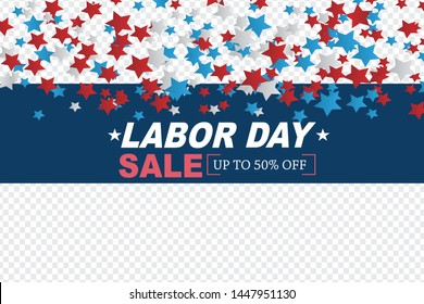 Labor day sale banner transparent background.  with stars. United States national holiday. Vector illustration.