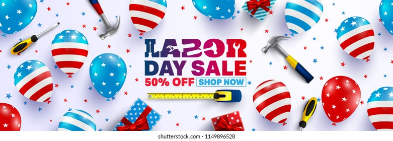 Labor Day Sale Brochures,Poster or Banner template.USA labor day celebration with American balloons flag.Sale promotion advertising banner template for USA Labor Day