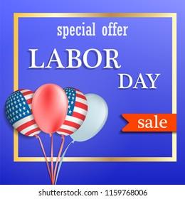 Labor day sale concept background. Realistic illustration of labor day sale vector concept background for web design