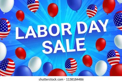 Labor day sale poster flyer banner vector illustration. American flag balloon on blue background design. Labor day celebration concept advertising.