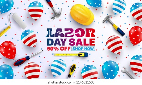 Labor Day Sale poster template. USA labor day celebration with American balloons flag.