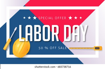 Labor day sale promotion advertising banner template. American labor day wallpaper. Voucher discount. Vector illustration.