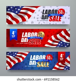 Labor day sale promotion advertising banner template decor with American flag .American labor day wallpaper.Gift voucher discount.Vector illustration .