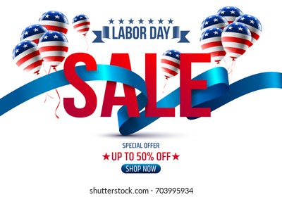 Labor Day Sale promotion advertising banner template with Ribbon and Balloon.American labor day Brochures,Poster or Banner.Vector illustration.