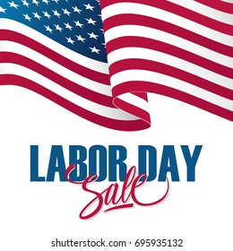 Labor Day Sale special offer banner with waving american national flag. Holiday background for business, promotion and advertising. Vector illustration.